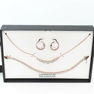 Macy's Diamond Accent Rose Gold Sterling Silver Pl